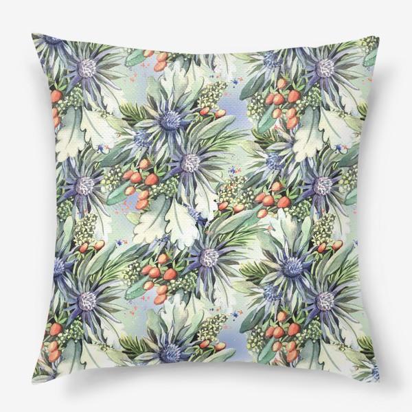 Подушка «Зимний цветочный паттерн»