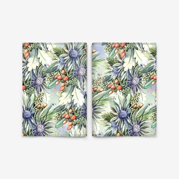 Обложка для паспорта «Зимний цветочный паттерн»