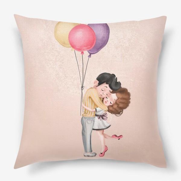 Подушка «Любовь, шарики, влюбленные»