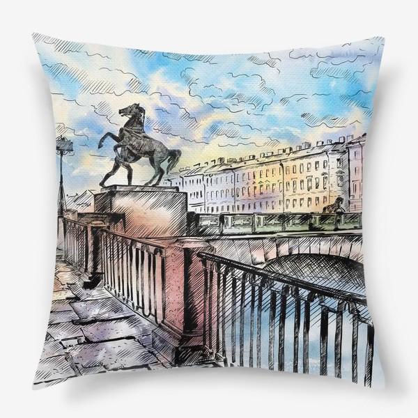 Подушка «Аничков мост с конями, Санкт-Петербург»