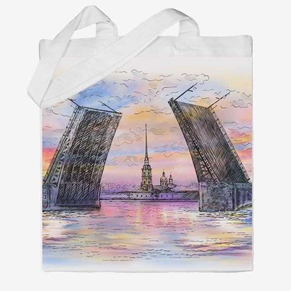 Сумка хб «Дворцовый мост, Санкт-Петербург»