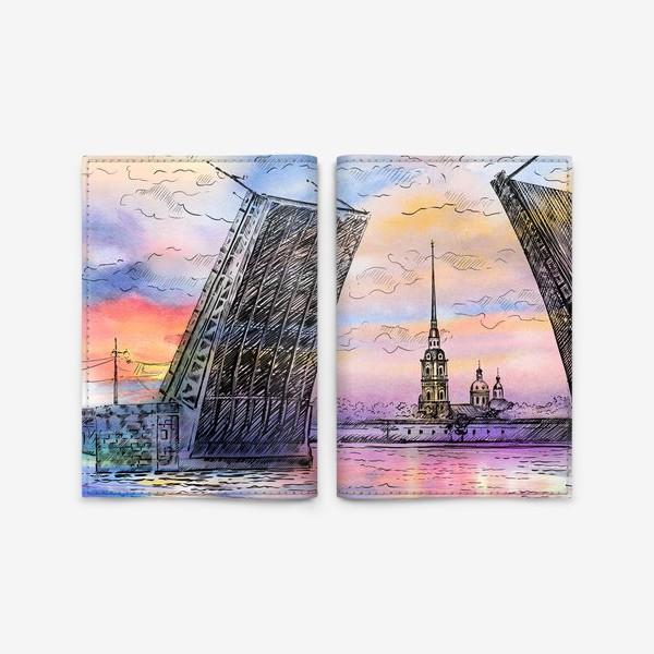 Обложка для паспорта «Дворцовый мост, Санкт-Петербург»