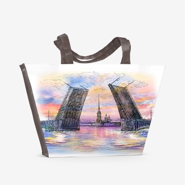 Пляжная сумка «Дворцовый мост, Санкт-Петербург»