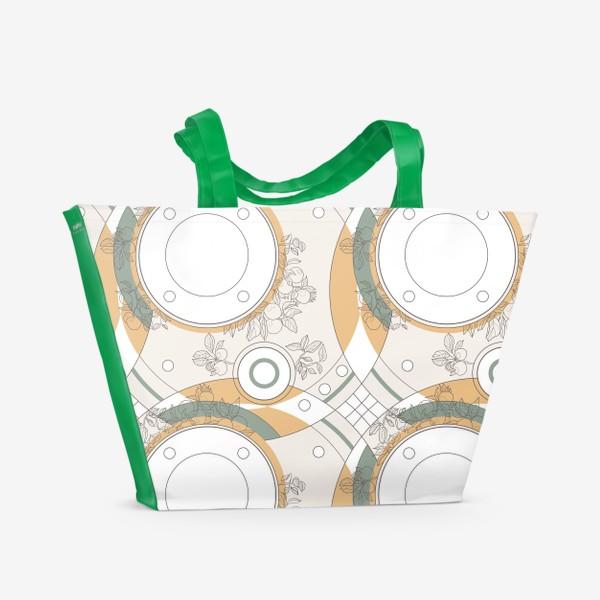 Пляжная сумка «Circles_orange_green»