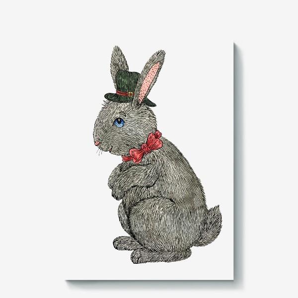Холст «Милый кролик в шляпе»
