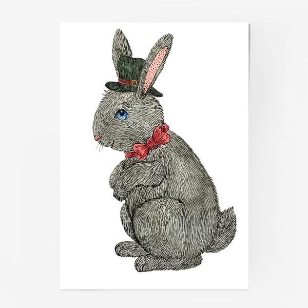 Постер «Милый кролик в шляпе»