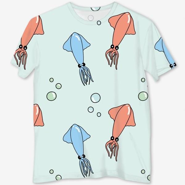Футболка с полной запечаткой «Паттерн с кальмарами на голубом»