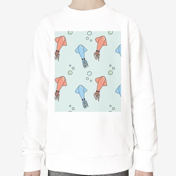 Свитшот «Паттерн с кальмарами на голубом»