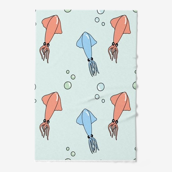 Полотенце «Паттерн с кальмарами на голубом»