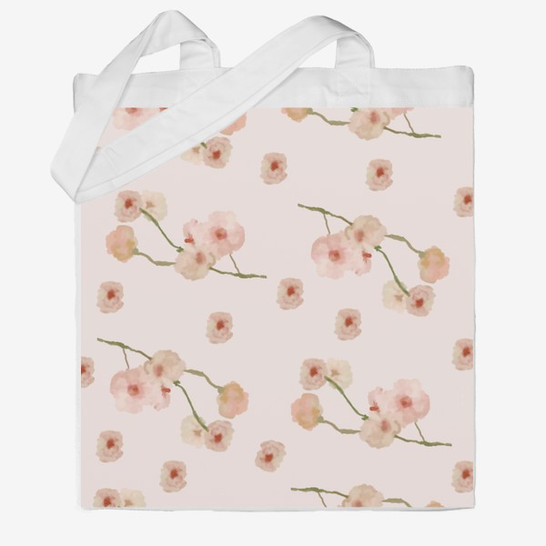 Сумка хб «Паттерн цветы сакуры на розовом»