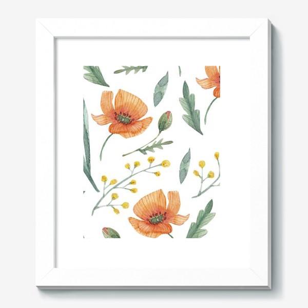 Картина «Оранжевые маки акварелью»