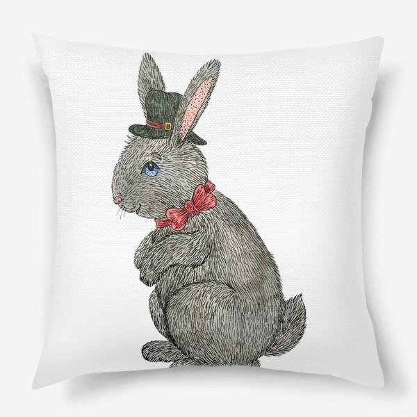 Подушка «Милый кролик в шляпе»