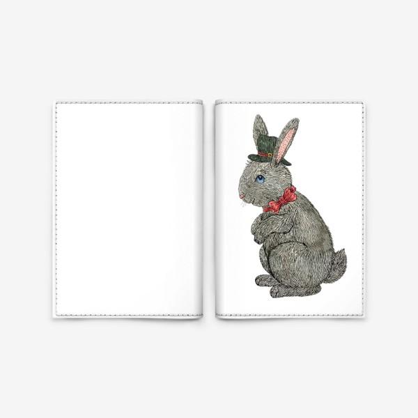 Обложка для паспорта «Милый кролик в шляпе»