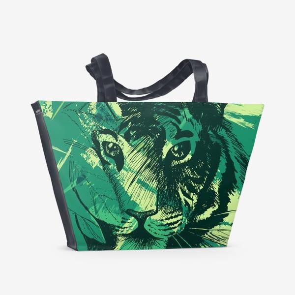 Пляжная сумка «Дикий тигр в джунглях»