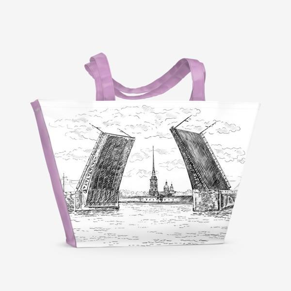 Пляжная сумка «Дворцовый мост, Санкт-Петербург. Графика»