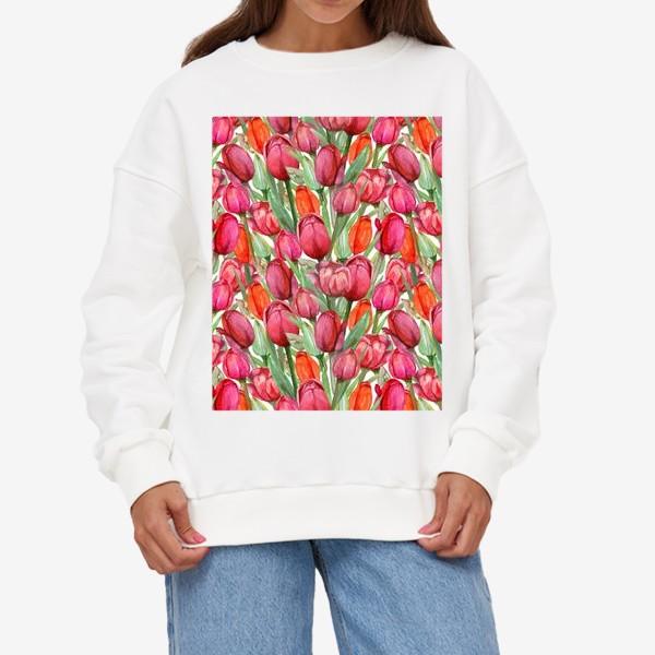 Свитшот «Акварельные тюльпаны, весенние цветы к 8 марта, на белом фоне»