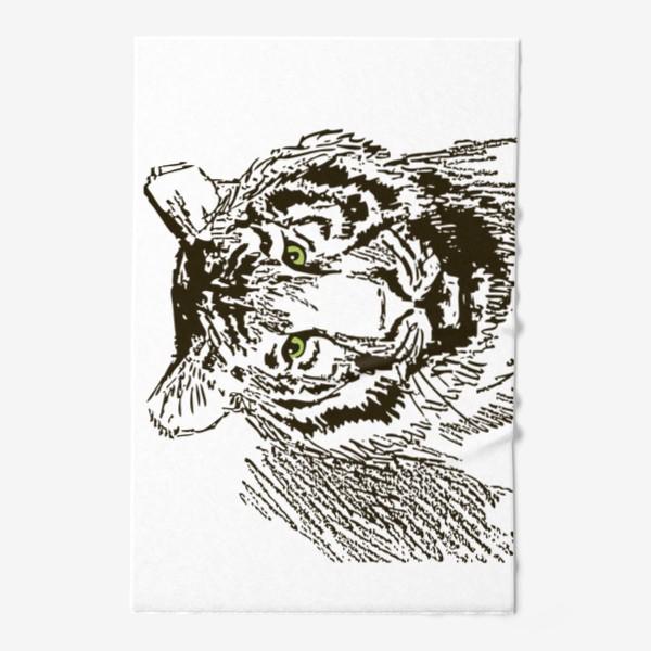 Полотенце «Скетч (набросок) тигр и надпись: Его жизнь в твоих руках»