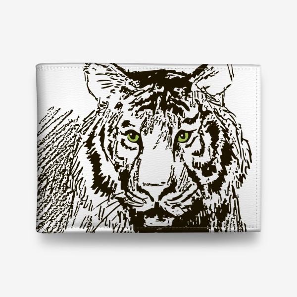 Кошелек «Скетч (набросок) тигр и надпись: Его жизнь в твоих руках»