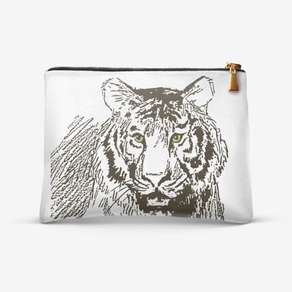 Косметичка «Скетч (набросок) тигр и надпись: Его жизнь в твоих руках»