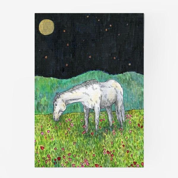 Постер «Белая лошадь пасется в поле»