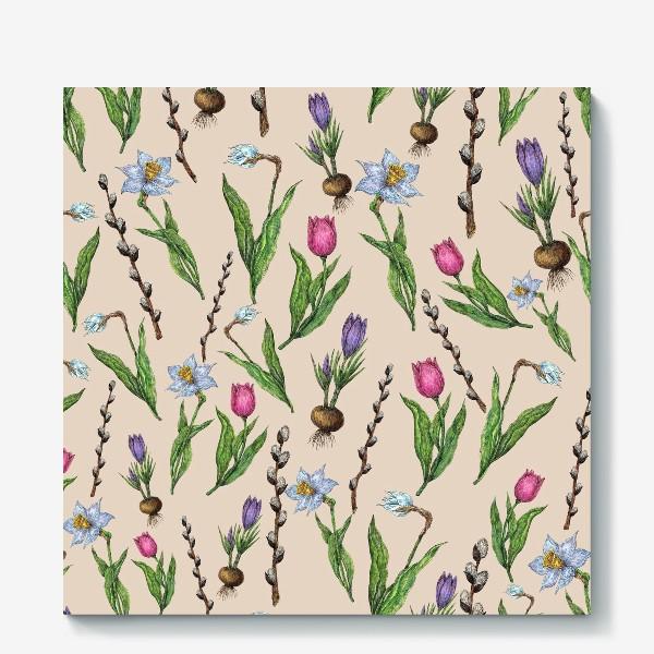 Холст «Узор с весенними цветами на бежевом фоне»