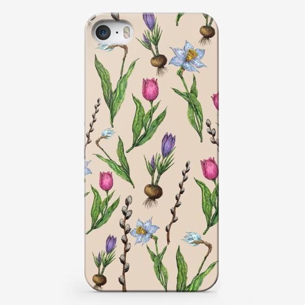 Чехол iPhone «Узор с весенними цветами на бежевом фоне»