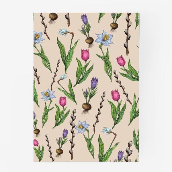 Постер «Узор с весенними цветами на бежевом фоне»