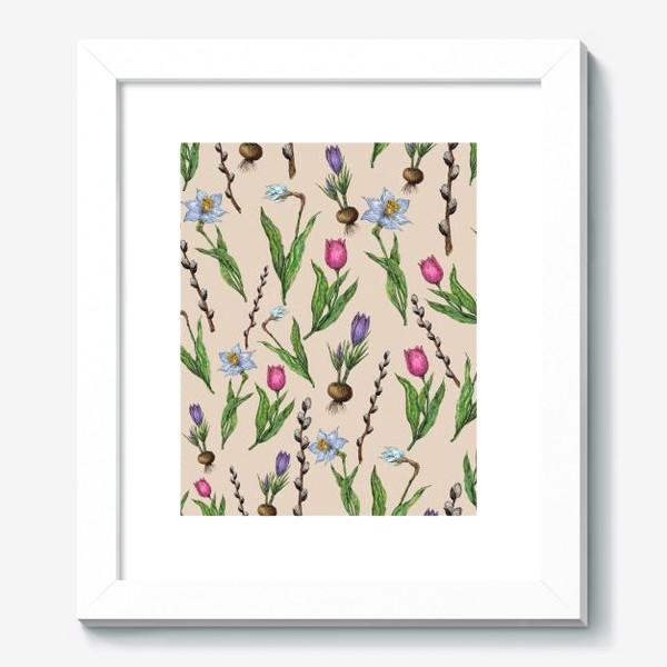 Картина «Узор с весенними цветами на бежевом фоне»