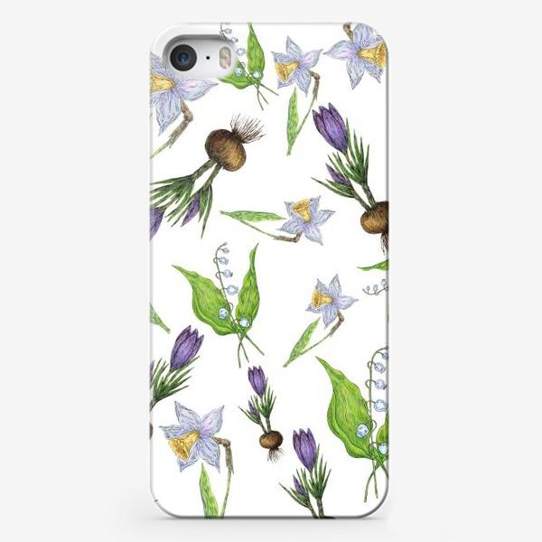 Чехол iPhone «Узор с весенними цветами»