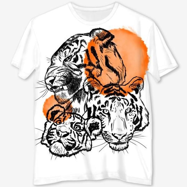 Футболка с полной запечаткой «Тигры»