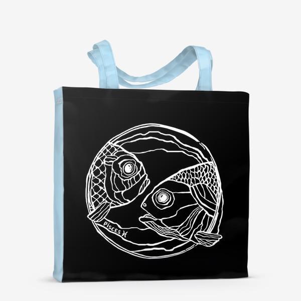 Сумка-шоппер «Рыбы в круге. Черный фон. Знак зодиака Рыбы.»