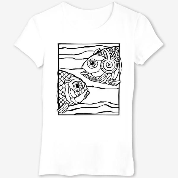 Футболка «Рыбы. Знак зодиака Рыбы. Рыба в наушниках. Любителю музыки»