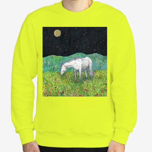 Свитшот «Белая лошадь пасется в поле»