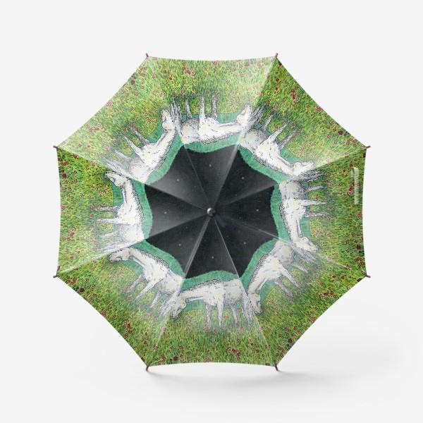 Зонт «Белая лошадь пасется в поле»