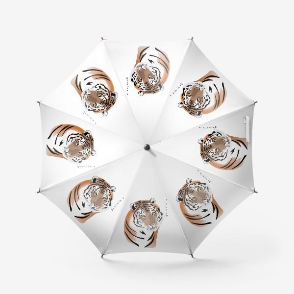 Зонт «Амурский тигр с надписью Я исчезаю»