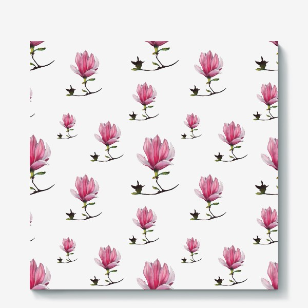 Холст «Розовые цветки магнолии Весенний узор Подарок на 8 марта»