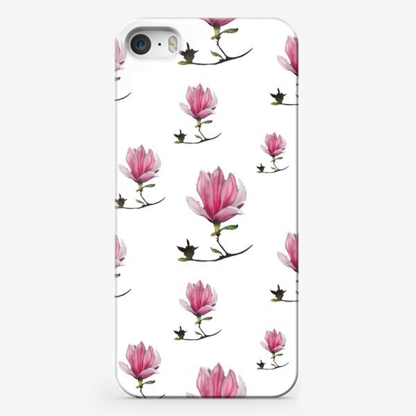 Чехол iPhone «Розовые цветки магнолии Весенний узор Подарок на 8 марта»