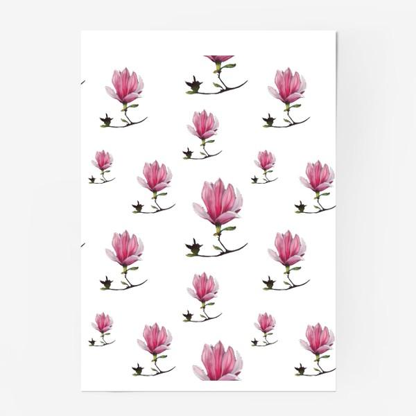 Постер «Розовые цветки магнолии Весенний узор Подарок на 8 марта»