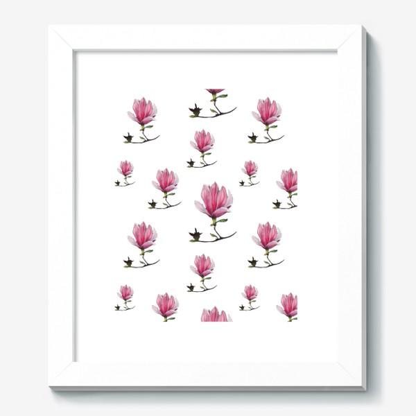 Картина «Розовые цветки магнолии Весенний узор Подарок на 8 марта»