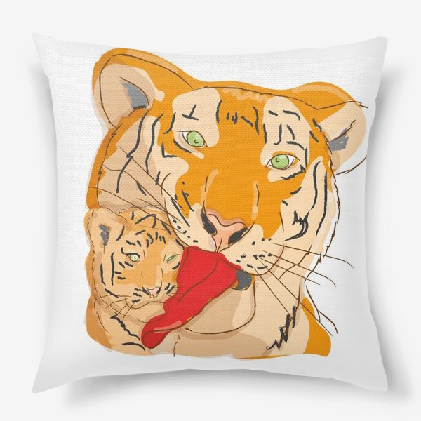 Подушка «мама тигр с тигренком»