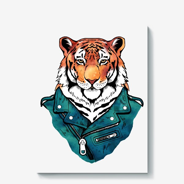 Холст «Амурский тигр в куртке-косухе»