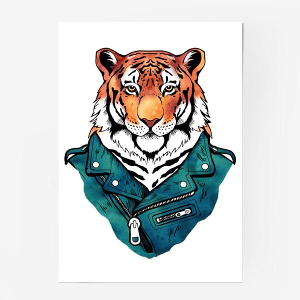 Постер «Амурский тигр в куртке-косухе»