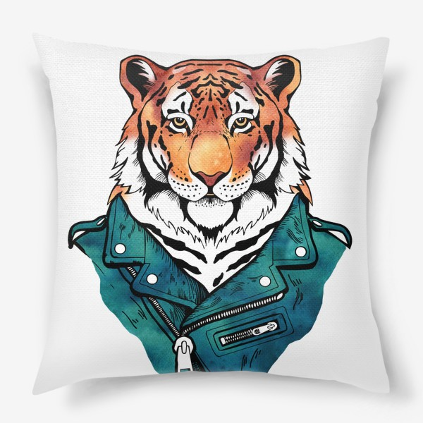 Подушка «Амурский тигр в куртке-косухе»