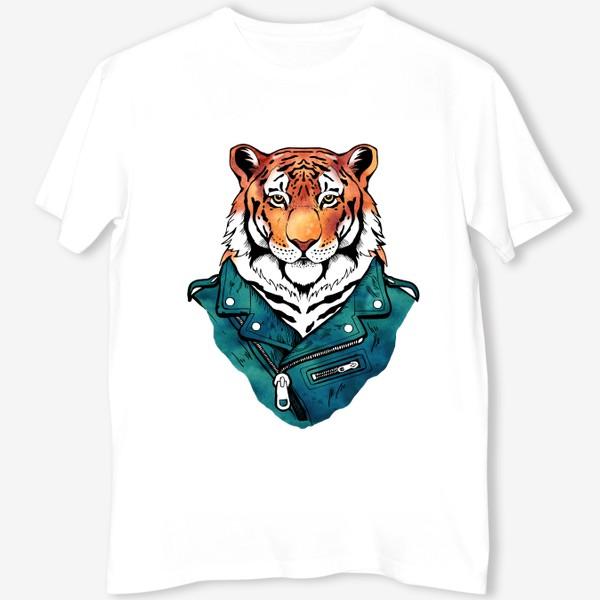 Футболка «Амурский тигр в куртке-косухе»