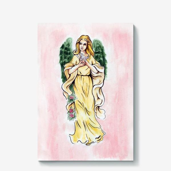 Холст «Ангел и голубь»