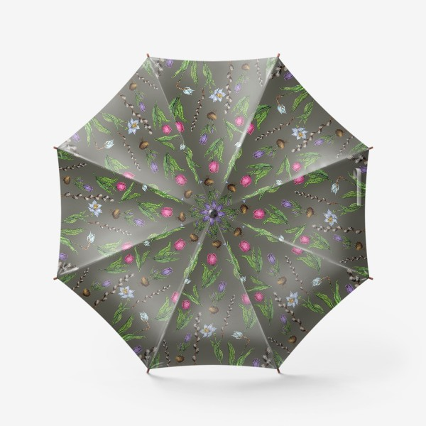 Зонт «Узор с весенними цветами на фоне хаки»