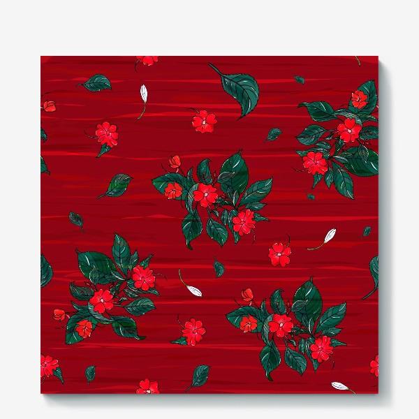 Холст «красные цветы. бальзамин»