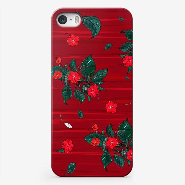 Чехол iPhone «красные цветы. бальзамин»