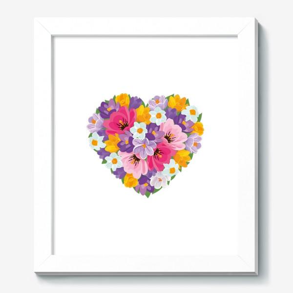 Картина «Цветочное сердце из весенних цветов тюльпанов, крокусов, нарциссов»