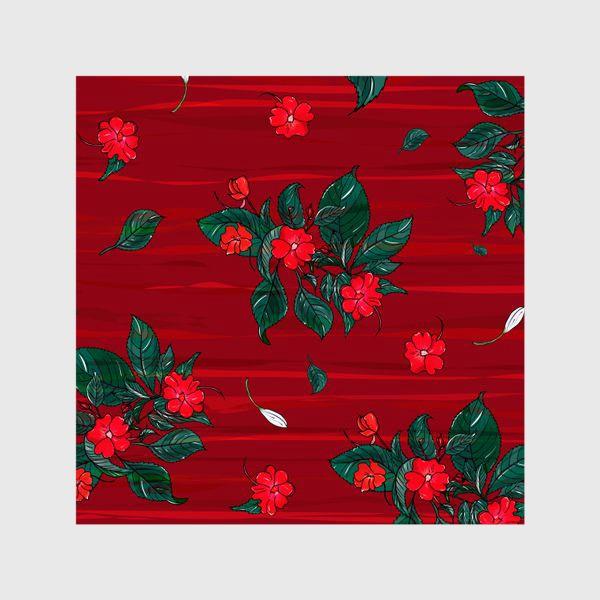 Шторы «красные цветы. бальзамин»